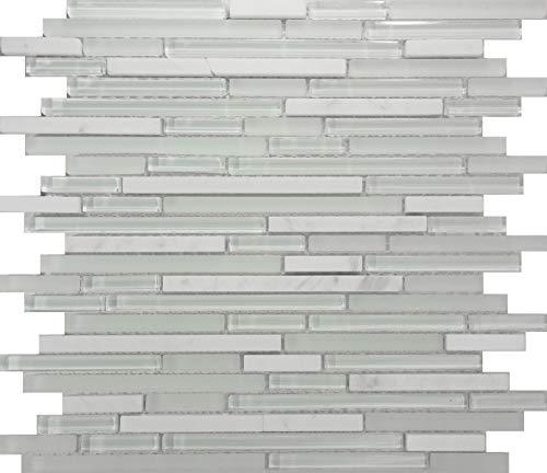 Thaisan7, 10-SF White Marble Glass Blend Linear Mosaic Tile kitchen backsplash wall sink