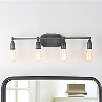 LNC Bathroom Vanity Lights Farmhouse Water Pipe Wall Sconces (4 Heads) Silver Finishes for Kitchen, Doorway, Entryway A03392,