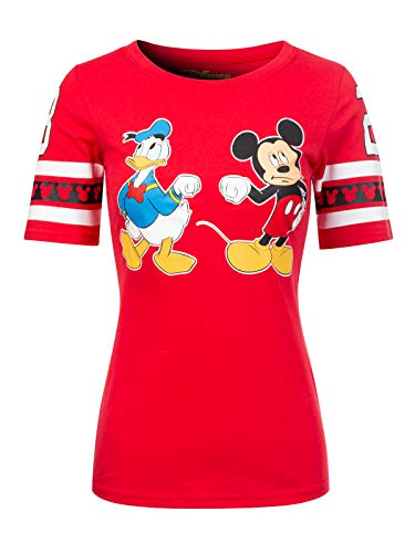 Instar Mode Women's Disney Mickey Mouse/Minnie Mouse/Donald Duck Short Sleeve Crew Neck Top DS476 Red ()