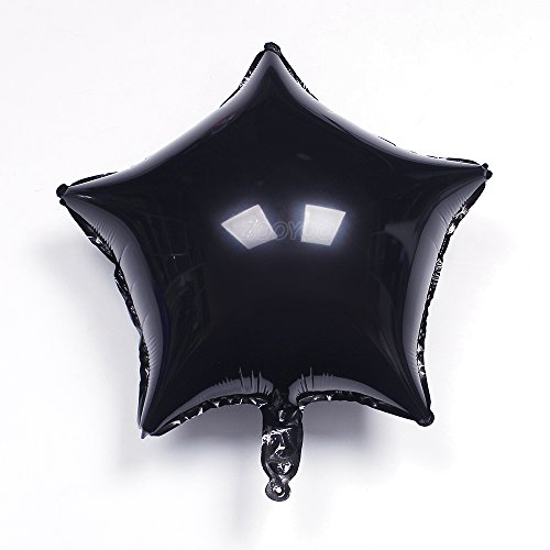 ZOOYOO 24pcs 18Star Shape Black Foil Mylar Helium Balloons for Birthday Party decoration & wedding decoration
