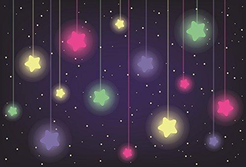 Yeele 5x4フィート 写真撮影用背景幕 - 写真背景 - ビニール製 夜 きらきら星 背景 赤ちゃんの誕生日パーティー バナー 寝室の装飾 スタジオ小道具   B07FLH5C1Q