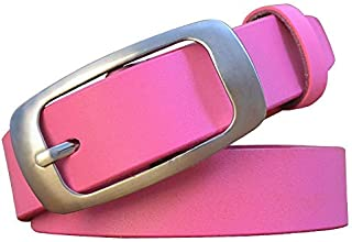 Lady italien ceinture en cuir de vachette lisse boucle largeur pure cuir jeans occasionnels ceinture ceinture fille étudiante et collègues femmes comme cadeau d'anniversaire rose105cm