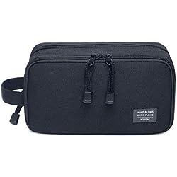 JORYEE Men's Toiletry Bag, Canvas Waterproof Travel Dopp Kit Bag Accessories Organizer (Black)