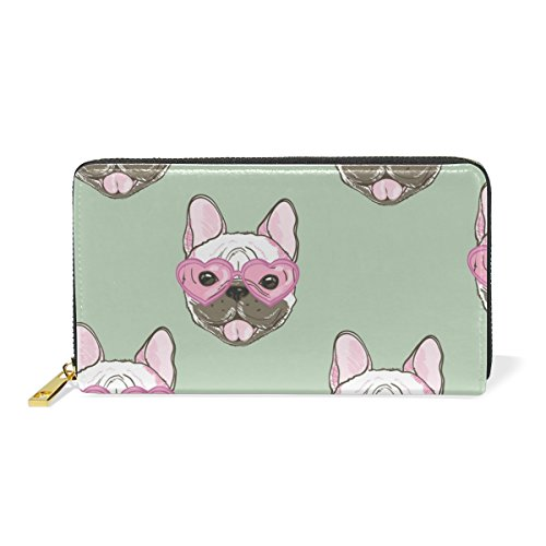 Clutch Purses And Handbags Zip Organizer Womens Puppy TIZORAX Wallet Bulldogs Around TnYxHYIt