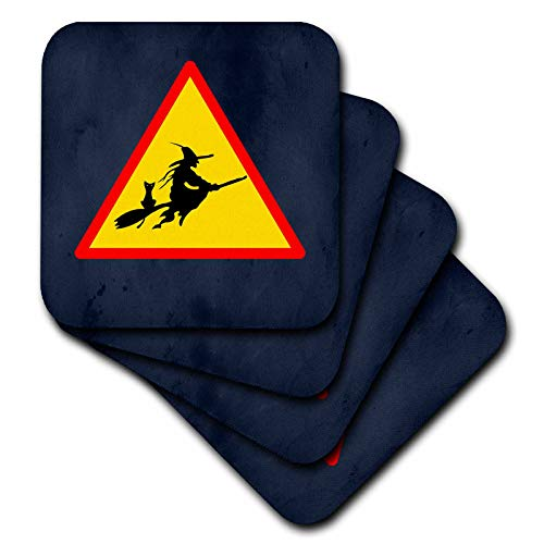 3dRose Sandy Mertens Halloween Designs - Witch Crossing with Black Cat and Broom Warning Sign, 3drsmm - set of 8 Ceramic Tile Coasters (cst_290246_4) ()