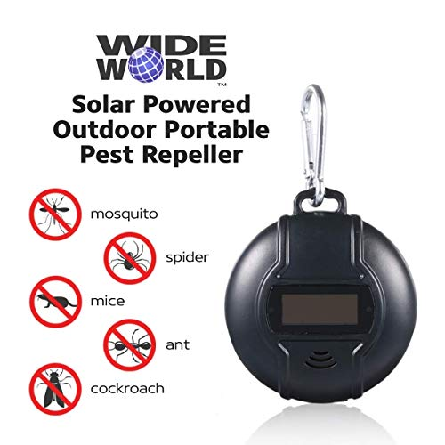 Wide World TM Portable Electronic Mosquito Repellent, Repel Insect, Fly, Ant, Ultrasonic Bug Eradicator, Long Time Outdoor Protection, Safe for Kids and Babies