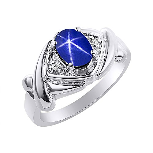 Diamond & Blue Star Sapphire Ring Set In Sterling Silver - XO Hugs & Kisses - Color Stone Birthstone Ring (Mens Blue Star Sapphire Ring)