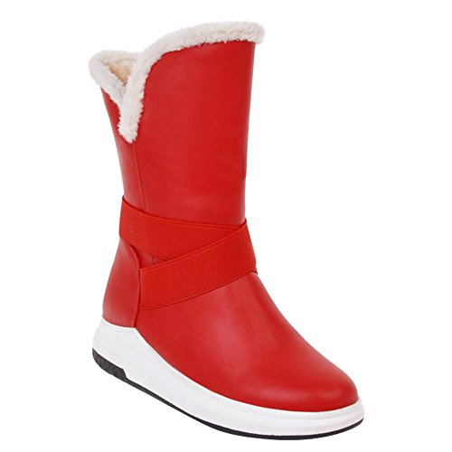 Mee Shoes Damen hidden heels warm gefüttert runde Stiefel Rot
