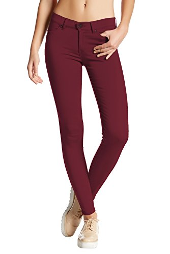 HyBrid & Company Womens Super Stretch Comfy Skinny Pants P44876SK Burgundy Large