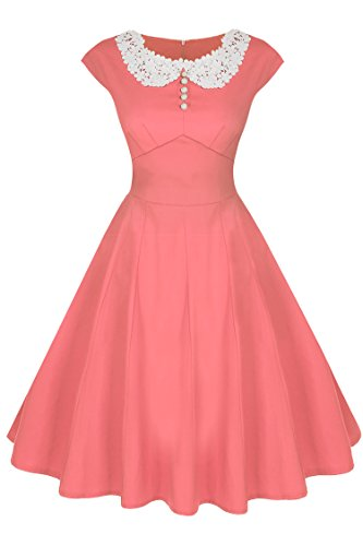 ACEVOG Women's Classy Vintage Audrey Hepburn Style 1940's Rockabilly Evening Dress (L, Pink) (Pink Alice Dress In Wonderland)