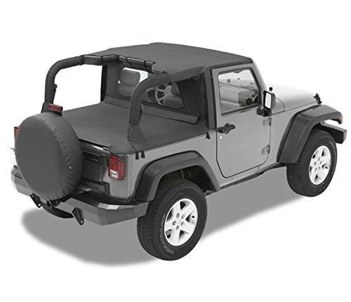 Bestop 52580-35 Targa-style Header Bikini Black Diamond Fabric Top for 2007-2009 Wrangler JK 2-Door (Bestop Bikini Header Top Safari)
