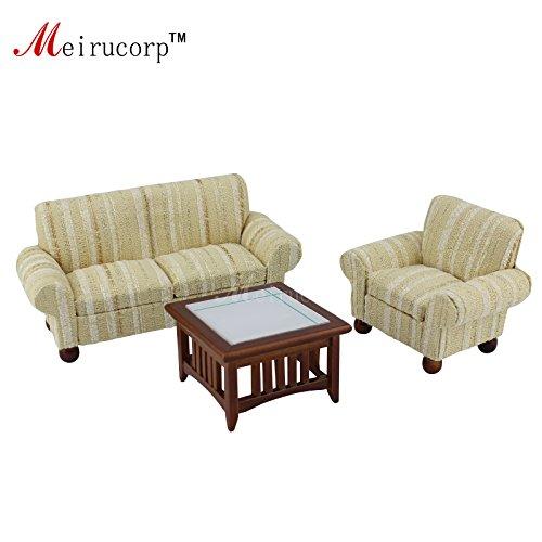 Meirucorp 1/12 Scale Dollhouse Gift Miniature Living Furniture Sofa Chair Tea Table 3 pcs Set