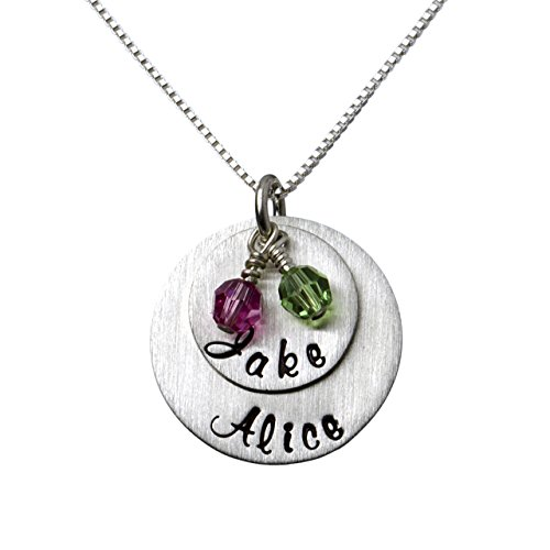 - My Two Joys Personalized Sterling Silver Name Necklace. Customize with Your Choice of Characters. Matted Finish. 2 Swarovski Birthstones. Includes Sterling Silver Chain. Gifts for Her, Mother, Wife