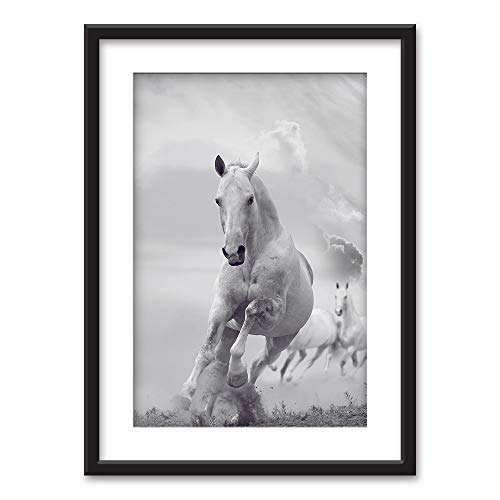 wall26 - Framed Wall Art - Galloping Horses in Black White - Black Picture Frames White Matting - 23x31 inches