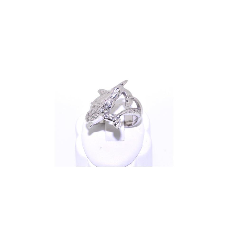 14K Yellow Gold Diamond/Ruby Dolphin Ring
