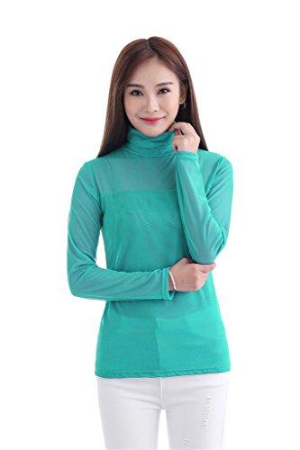 GladThink Mujer musulmán Camiseta Manga larga Cuello alto CornflowerAzul