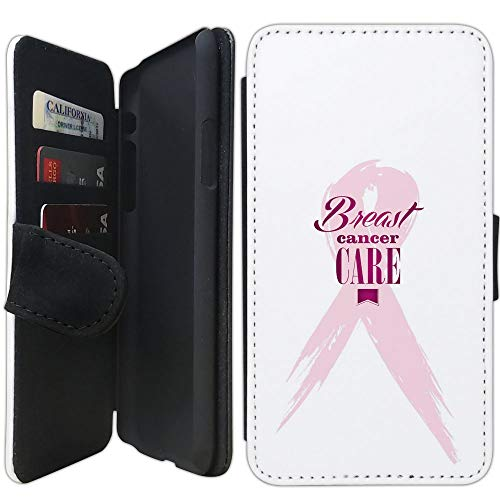 Flip Wallet Case Compatible with iPhone Xs MAX (6.5 inch) (Pink Ribbon Breast Cancer) with Adjustable Stand and 3 Card Holders | Shock Protection | Lightweight | Includes Free Stylus Pen by Innosub