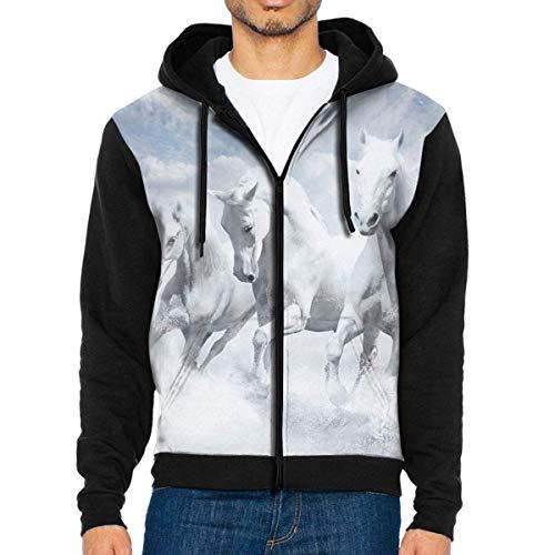 DeReneletrc Men's Workout Full Zip Jackets Hoodie White Horses Hooded Sweatshirt Pullover with Pocket