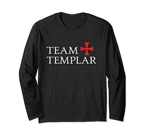 Crusader Long Sleeve - Unisex Team Templar Cross Crusaders Long Sleeve Gift T-Shirt - W Large Black