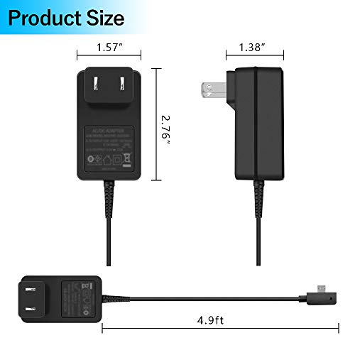 BOLWEO Surface 3 Charger Cord,13W 5.2V 2.5A Power Supply Adapter Compatible with Microsoft Surface 3, Model 1623 1624 1645 1657 Tablet with Micro USB Charging Cable 4.9ft