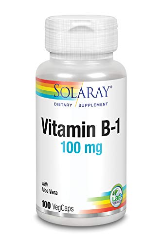 Solaray Vitamin B-1 100 mg | Healthy Energy Metabolism, Skin, Brain, Heart & Nervous System Support | 100 VegCaps