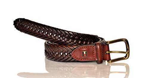 Tommy Hilfiger Leather Braided Belt - Casual for Mens Jeans with Solid Strap Single Prong Buckle, Tan, 36