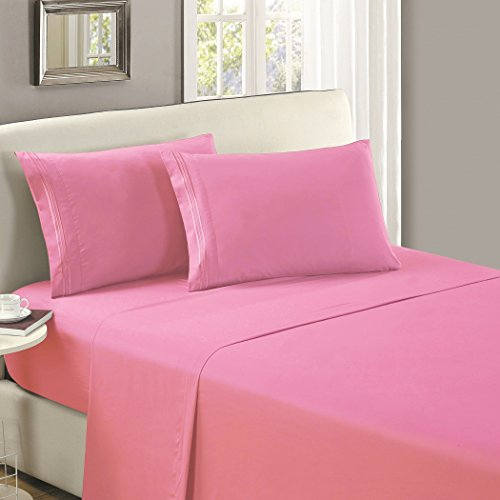 (Mellanni Flat Sheet Full Pink Brushed Microfiber 1800 Bedding Top Sheet - Wrinkle, Fade, Stain Resistant - Hypoallergenic - (Full, Pink))