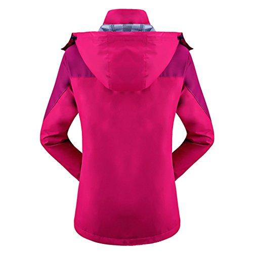 Dehutin Mujer Peso ligero Intemperie Impermeable Chaquetas Talla grande Montañismo Concha blanda Abrigo Rosa roja