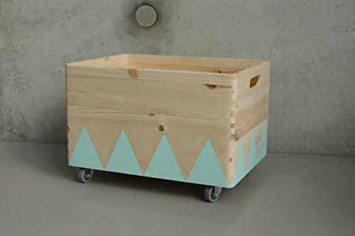 Caja de Juguete de Madera Turquesa - Triángulo Escandinavo Rollers ...