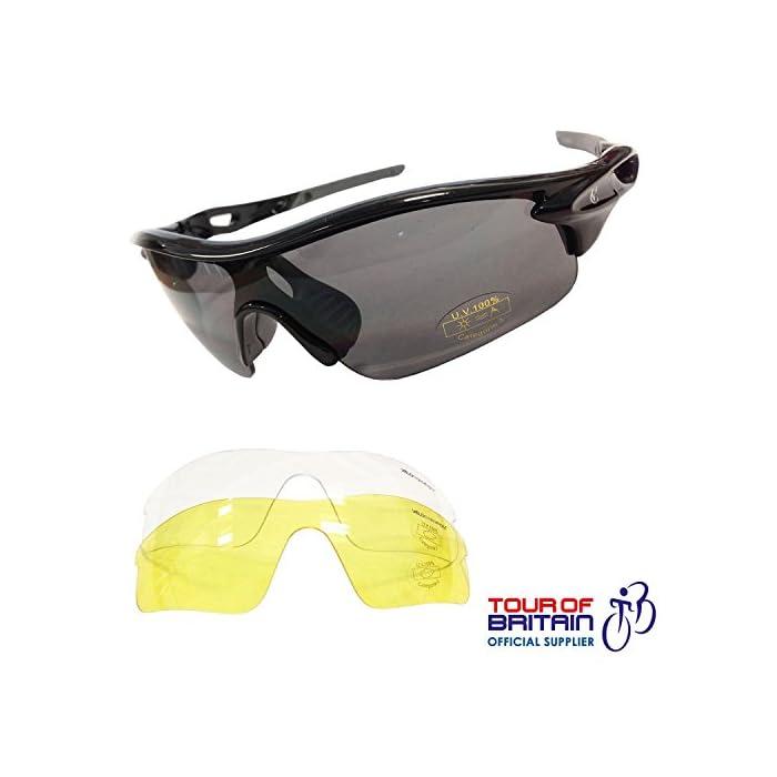Velochampion Warp Ciclismo Conducción Mtb Gafas de Sol Híbridas Correr Gafas Deportivas Protección Uv400 y 2 Lentes de Repuesto Incluidos (Negro)