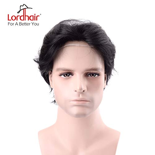 Lordhair Toupee with Human Hair Full French Lace Hairpieces and Freestyle Hairstyle Toupee for Men Color 1 (14 Other Colors Available)