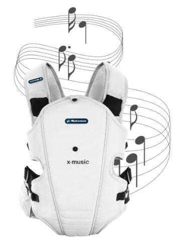 Bebemon BB005 - Mochila portabebés X-music ice white con sistema de sonido (ideal para relajar al bebe con musicoterapia)