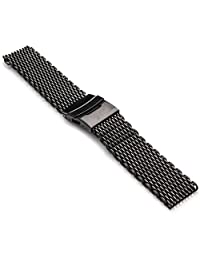 StrapsCo Extra Long Shark Mesh PVD Matte Black Stainless Steel Watch Band in 20mm