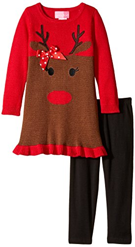 Good Lad Little Girls' Toddler Reindeer Face Sweater Legging Set, Red, 2T