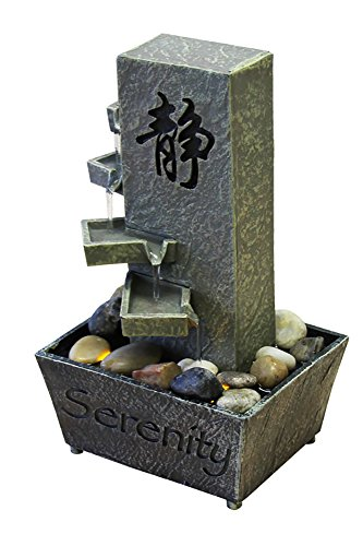 Nature's Mark Tiered Serenity LED Relaxation Water Fountain with Authentic River Rocks