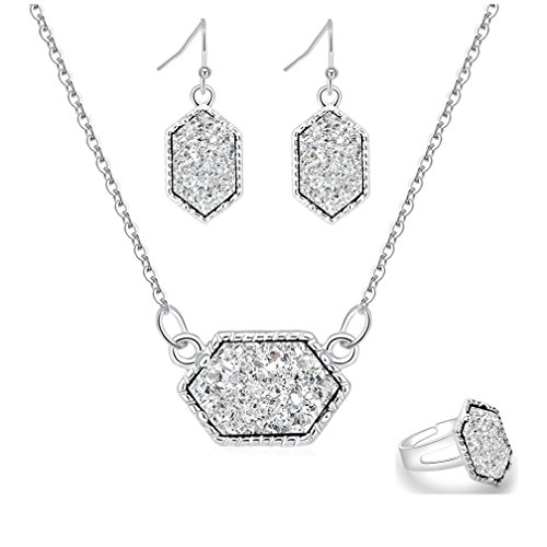 - White Colorful Faux Druzy Jewelry Set Drusy Necklace Dangle Earring Ring Silver Plated Hexagon Pendant (White)