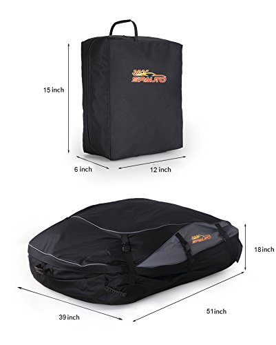 SPAUTO Car Cargo Roof Bag 20 Cubic Feet Waterproof Duty Car Roof Top Carrier Folds Easy Easy to Install Soft Rooftop Luggage Carriers with Wide Straps
