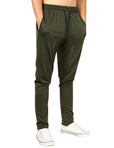 Yong Horse Mens Lightweight Pants Drawstring Zip Pockets Gym Sweatpants Green S