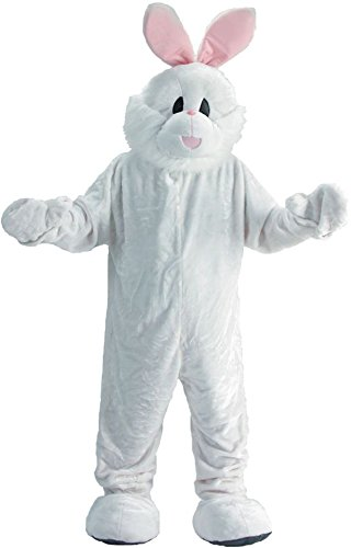 UHC Unisex Rabbit Mascot Jumpsuit Funny Comical Theme Adult Halloween Costume, (Scary Rabbit Costume)
