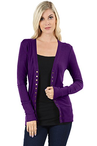 ClothingAve. Women's Snap Button Sweater Cardigan with Ribbed Detail-Dk.Purple-S ()