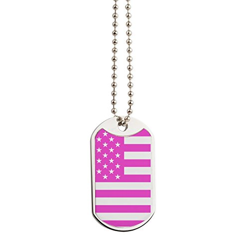 CafePress - U.S. Flag: Pink - Military Style Dog Tag, Stainless Steel with Chain ()