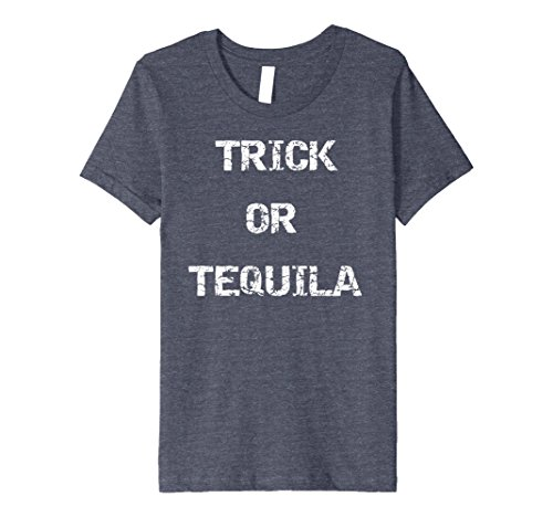Tequila Shot Girl Costumes (Kids Premium Trick or Tequila Halloween Costume T-Shirt 4 Heather Blue)