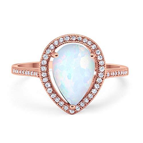 Teardrop Pear Creatd White Opal Bridal Ring Rose Tone 925 Sterling Silver, Size-8 ()
