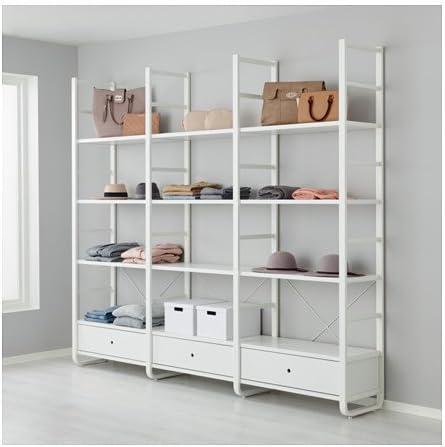Ikea 3 Secciones Estante de Pared, Blanco, bambú 96 1/2 x 15 ...