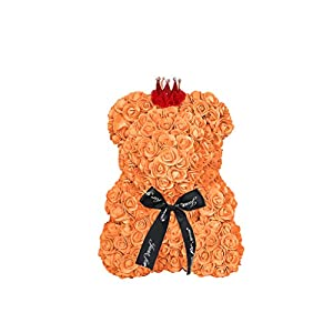 2DXuixsh Rose Bear Flower Teddy Cub Forever Artificial Roses Anniversary Christmas Valentines Gift Wedding Birthday Mother's Day (15inch, Orange) 19