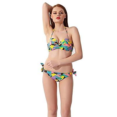 Ivysky Women's Boho Multicolored Geometric Floral Polka Dot Printed Push Up Padded Tie Side Bottom Bikini Set (M, Style 3)