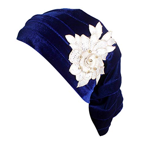 (TWGONE Turbans for Women India Muslim Stretch Cotton Floral Hat Head Scarf Wrap Cap(One)