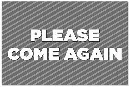 Please Come Again 36x24 CGSignLab 5-Pack Stripes Gray Window Cling