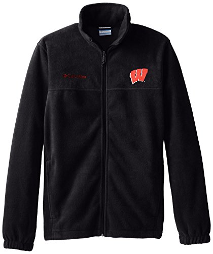 Wisconsin Badgers Fleece - NCAA Wisconsin Badgers Collegiate Flanker II Full Zip Fleece Jacket, Black, X-Large