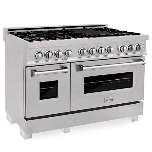 ZLINE 48 in. Professional 6.0 cu. ft. 7 Dual Fuel Range in DuraSnow Stainless Steel with Brass Burners (RAS-SN-BR-48)